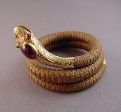 This bracelet is pretty neat - not only is it hair jewelry, but it's in the snake form - very popular in the Victorian era.
