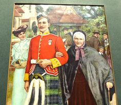 Edwardian Print of a Scottish Soldier with His Mother Outside of Church Wearing… Vintage Home Decor, Vintage Art, Vertigo, Vintage Photographs, Ephemera, Military, Gift Ideas, Group, Amazing