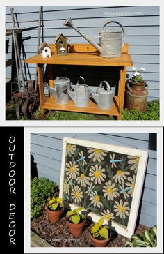 Displaying watering cans and an old window screen.