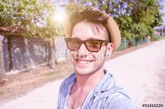 Guy take a selfie outdoor - people, technology and lifestyle concept