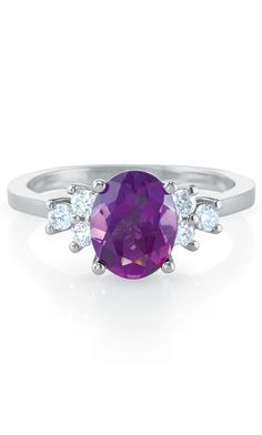 Celebrate February with Amethyst and Diamond accented rings! #FebruaryBirtstone #Diamonds Available at www.DJsJewelry.com