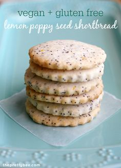 Light and lemony vegan and gluten free lemon poppy seed shortbread cookie recipe.