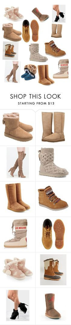 """""""Nothing"""" by jewel21097 ❤ liked on Polyvore featuring UGG, Skechers, Moschino, Timberland, Monsoon, Khombu and Gameday Boots"""