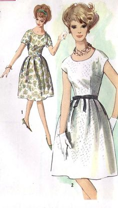 Misses Dress Vintage Sewing Pattern, with Low Rounded Neckline, Simplicity 4982 Dress Making Patterns, Vintage Dress Patterns, Clothing Patterns, Vintage Dresses, Vintage Outfits, Moda Vintage, Vintage Girls, 1960s Fashion, Vintage Fashion