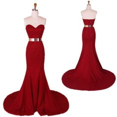Long Elegant Red Mermaid Prom Dresses .Evening Gown .Dress . Gown