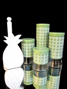 Vintage Enamel and Glass 4-Piece Canister Set || Jadeite Green and White Lattice Pattern || Retro Kitchen Storage by ElectricMarigold on Etsy