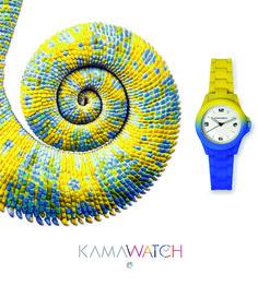 KAMAWATCH, il primo orologio  con  trattamento Thermic Technology. Il cambio di colore da nero a colorato  avviene al raggiungimento di una temperatura di 22°centigradi. Ripristinata la temperatura iniziale  al di sotto di 22°centigradi restituisce all'orologio il colore originario.
