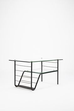 Pierre Guariche; Enameled Metal, Glass and Brass Coffee Table for Steiner, c1960.