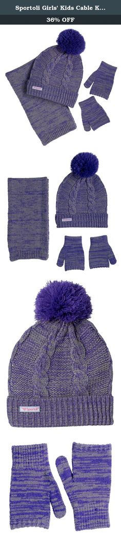 Sportoli Girls' Kids Cable Knit Cold Weather Accessory Set Warm Pull On Hat Scarf and Gloves (Grey / Purple). About the Brand: At Sportoli®, we keep the active people in mind. Our products are constructed of the most durable materials to create convenient everday items and withstand the heaviest of sport and activity. Our affordable prices allow all people at all budgets to benefit of great products. About this Product: An ultimate blend of warmth, toastiness and style. This toasty winter...