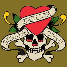 Greek Tattoo Skull $12.90 each 24 piece minimum #Greek #Sorority #Screenprinted #Clothing #Tattoo #Skull #SigmaDeltaTau #SDT #SigDelt