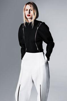 Céline top, $3,250, and pants, $1,250, 212-535-3703. Eton of Sweden shirt (worn under), $295, 212-758-3866.