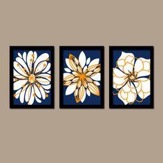 Wall Art Artwork Navy Blue Orange White Flower Burst By TrmDesign Pinterest  The Worlds Catalog Of Ideas