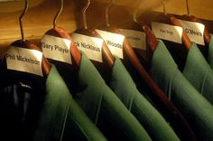 The green jackets belonging to former Masters winners hanging in the Augusta National clubhouse. The champion may keep his jacket for a year, but must return it to the club afterward.