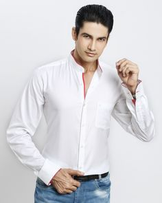 WHITE-RED CHINESE COLLAR SHIRT Jaihind Retail | Men Online Shopping | Mens Clothing in Pune Chinese Collar Shirt, Boy Outfits, Casual Outfits, Groom Wear, Men Online, Pune, Collar Shirts, Party Wear, Chef Jackets