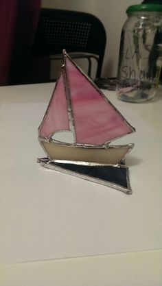 Pink Stained Glass Sailing Boat by Clare.