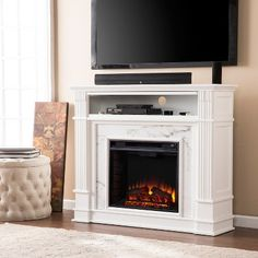 Highpoint Faux Cararra Marble Electric Media Fireplace Aiden Lane - image 2 of 11 Media Fireplace, Fireplace Console, Fireplace Mantels, Stone Fireplaces, Faux Fireplace, Fireplace Ideas, Faux Stone Electric Fireplace, Media Electric Fireplace, Electric Fireplaces