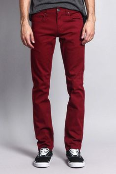561e026c Men's Skinny Fit Colored Jeans DL937 (Burgundy) #MensJeans