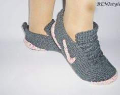 Gray Sneakers Converse Slippers Adult Sneakers Women by BENIstyle. Crochet  Men's Shoes Nike ...