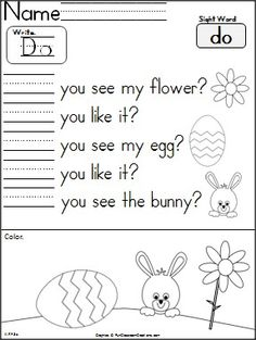 "Free Easter writing/reading activity for Kindergarten.  Students practice the word ""do""."