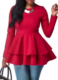 Long Sleeve Round Neck Peplum Waist Blouse