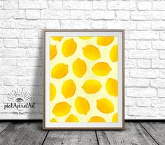 Lemon Wall Art Lemon Art Print Fruit Print by pickApixelArt