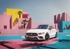 Rendering of a Mercedes A-Class at a basketball court which is a full virtual environment. Mercedes A Class, Mercedes Benz, Bmw M4, Cgi, Volvo, Evolution, Photography, Behance, Drawings