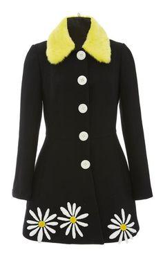 Daisy Embroidered Wool Mini Coat by Natasha Zinko for Preorder on Moda Operandi