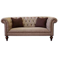 Tetrad Harris Tweed Gleneagles Medium Sofa, Heather Tweed With Brompton Tan  Piping