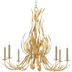 Jenica Regency Gold Leaves Gilded Chandelier (148.170 RUB) ❤ liked on Polyvore featuring home, lighting, ceiling lights, gold lighting, gold chandelier light, gold lamp, leaf chandelier and gold chandelier