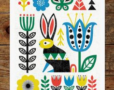 Folk Fox Woods Trees Forest Scandinavian Folk Art by groovygravy