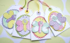 Happy Big Spring Butterflies  Set of Four by CraftyMushroomCards, £3.50