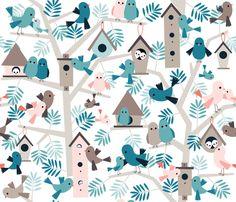 bird family tree fabric by heleenvanbuul on Spoonflower - custom fabric