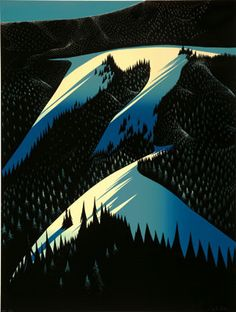 Eyvind Earle, Black Evergreen Forest. So many beautiful works. (This would have been a repin but the original pinner didn't use a good link.)