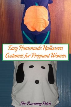 Baby bumps make Halloween extra exciting for pregnant women! Expecting mamas-to-be can create easy homemade Halloween costumes using only a few materials for an adorable holiday look. Halloween Costumes Pregnant Women, Easy Homemade Halloween Costumes, Pregnancy Costumes, Homemade Halloween Decorations, Halloween Snacks, Halloween Gifts, Vintage Halloween, Halloween Pumpkins, Halloween Letters