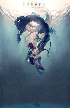Miyazaki y Ghibli . Movie : Spirited Away chihiro and haku Art Studio Ghibli, Studio Ghibli Films, Totoro, Art Manga, Manga Anime, Anime Art, Art And Illustration, Creative Illustration, Film Animation Japonais
