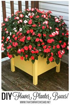 Make the perfect DIY Flower Planter Boxes for your porch or deck! When I have a vision in my head and I can't find what I want at stores OR I refuse to pa Flower Planters, Diy Planters, Garden Planters, Flower Containers, Pallet Planter Box, Planter Boxes, Ana White, Flower Boxes, Diy Flowers