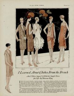 Feb. 1927 Ladies' Home Journal Parisienne fashion pages.