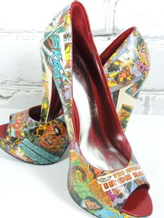 Iron Man Comic Book Heels by Moonlightdecorator, via Etsy. Part of my latest geek-themed Treasury: http://www.etsy.com/treasury/Njc0NDA2NXwyNzIxMDQwOTU1/let-your-geek-flag-fly