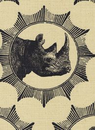 "Beautiful ""Rhino"" design in black on parchment, African Archive Collection, Design Team Fabrics  www.designteamfabrics.co.za"