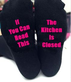 If you can read this kitchen is closed, socks, gift, mum, mummy, mom, nan, christmas, black socks by personaliseddiamante on Etsy