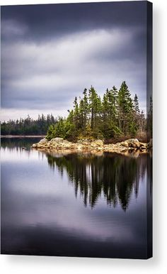 """Long Lake Island acrylic print by Mike Organ.   Bring your artwork to life with the stylish lines and added depth of an acrylic print. Your image gets printed directly onto the back of a 1/4"""" thick sheet of clear acrylic. The high gloss of the acrylic sheet complements the rich colors of any image to produce stunning results. Two different mounting options are available, see below."""
