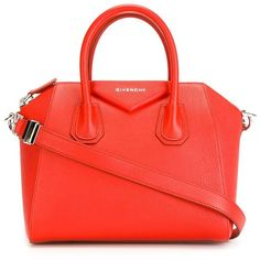 Givenchy Small 'Antigona' Tote (149,225 INR) ❤ liked on Polyvore featuring bags, handbags, tote bags, shoulder strap purses, zip top tote, zip top tote bags, red tote handbag and shoulder strap handbags
