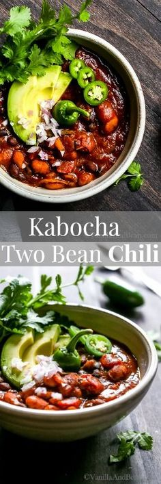 A cozy Kabocha Two Bean Chili simmered in a chipotle and poblano base with fire roasted tomatoes and warming spices. Dinner in 30 minutes and freezer friendly! Vegan + Gluten Free via /vanillaandbean/