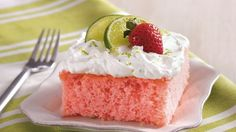 Nonalcoholic strawberry margarita mix makes this party cake a great addition to picnics and potlucks.
