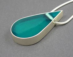 Resin necklace pendant necklace silver turquoise by MissSilver