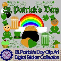 St. Patrick's Day Clip Art Digital Sticker Collection Lot of 18 - $1.99 : ScrapPNG, Digital Craft Graphics