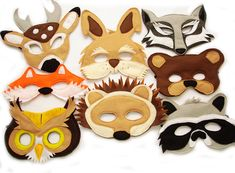 Children's Woodland Animals Felt Mask Super Combo of 8 Masks by magicalattic on Etsy https://www.etsy.com/listing/120701130/childrens-woodland-animals-felt-mask