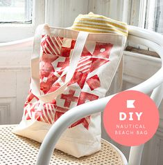 DIY stamped canvas nautical tote bags