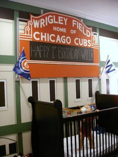 GO CUBS!, A Wrigley Field inspired bedroom. Three  pinstriped walls and the 4th wall being a mural of Wrigley Fields west facade, complete w...