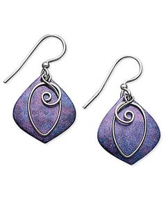 A laid-back look for the fashionable free spirit. Jody Coyote's vivid earrings feature a purple, patina drop, a silver-filled freeform wire leaf and sterling silver accent beads and french wire. Clay Earrings, Beaded Earrings, Earrings Handmade, Silver Earrings, Beaded Jewelry, Handmade Jewelry, Drop Earrings, Purple Earrings, Bead Jewellery